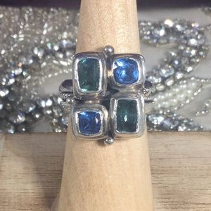 Green and Blue Topaz 925 Silver Ring by Sarda
